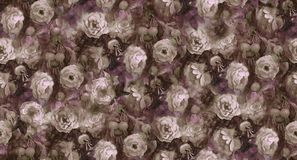 Roses and hips. Watercolor gray blooming roses and rose hips. Seamless pattern Royalty Free Stock Images