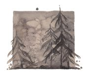 Watercolor gray depressive winter forest, isolated deep gray woods illustration.  vector illustration