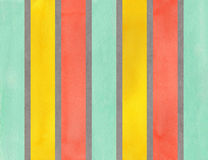 Watercolor gray, salmon, yellow and seafoam striped background. Royalty Free Stock Photography