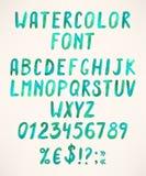 Watercolor green alphabet Royalty Free Stock Photos