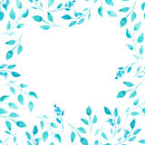 Watercolor green and blue leaves as frame. On white background Stock Images