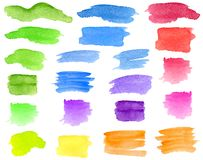 Watercolor green, blue, red, yellow brush strokes, smears set. Hand drawn colorful aquarelle stripes and blots isolated on white. stock images