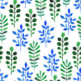 Watercolor green and blue sprigs Royalty Free Stock Photos