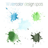 Watercolor green and blue stains for design Royalty Free Stock Photography