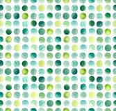 Watercolor Green, Blue and Yellow Circles Repeat Pattern Royalty Free Stock Photo