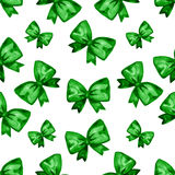 Watercolor green bow seamless pattern. Hand painted illustration. Isolated on white Stock Photos