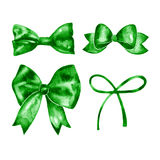 Watercolor green bow set. Hand painted illustration. Isolated on white Royalty Free Stock Image
