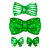Watercolor green bow set. Hand painted illustration. Isolated on white Royalty Free Stock Images