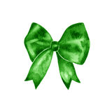 Watercolor green bow symbol. Hand painted illustration. Isolated on white Stock Photo