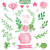 Watercolor green branches ,pink flowers.Decor set Royalty Free Stock Photography