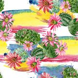 Watercolor green cactus with a pink flower. Floral botanical flower. Seamless background pattern. Fabric wallpaper print texture. Aquarelle wildflower for stock illustration