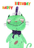 Watercolor green cat. Watercolor cartoon green cat hand drawn isolated on white background Royalty Free Stock Photos
