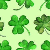 Watercolor green clover shamrock Saint Patrick's Day seamless pattern Royalty Free Stock Image
