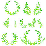 Watercolor green design elements. Brushes, borders, wreath. Vector Stock Image