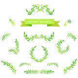 Watercolor green design elements. Brushes, borders, wreath. Vector Royalty Free Stock Images