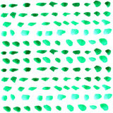 Watercolor green drops over white Royalty Free Stock Images