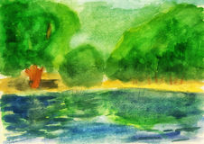 Watercolor. Green forest and lake. As background Stock Photos