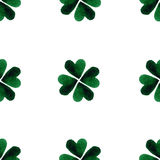 Watercolor green four-leaf clover leaves. St. Patrick Day background. Charity. Hand painted illustration. Watercolor clover leaves. St. Patrick Day background Stock Photo