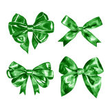 Watercolor green gift satin bow. Hand painted illustration. Royalty Free Stock Photography