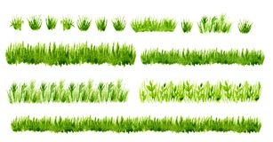 Watercolor green grass borders set isolated on white background.  Stock Image
