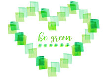 Watercolor green heart made of squares on white background.. Eco friendly illustration Stock Photo