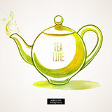 Watercolor green kettle Royalty Free Stock Photos