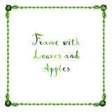 Watercolor green leaves and apples vector frame Royalty Free Stock Image