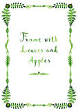 Watercolor green leaves and apples vector frame (vertical) Stock Photo