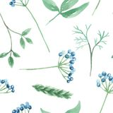 Watercolor Green Leaves Blue Berries Festive Seamless Pattern Repeat Stock Photography