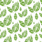 Watercolor green leaves seamless pattern background Royalty Free Stock Photo
