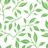 Watercolor green leaves seamless pattern Royalty Free Stock Photo