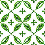 Watercolor green leaves seamless vector pattern Royalty Free Stock Photography