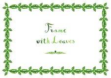 Watercolor green leaves vector frame (horizontal) Royalty Free Stock Photos