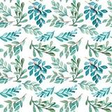 Watercolor Green And Light Blue Foliage Seamless Pattern Stock Photo