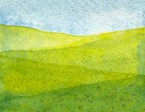Watercolor of a green meadow vector illustration