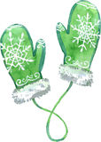 Watercolor green mittens. Vector illustration. Stock Photography