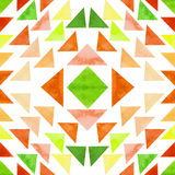 Watercolor Green And Orange Triangles Seamless Pattern. Watercolor Bright Green And Orange Triangles Seamless Pattern Royalty Free Stock Photography