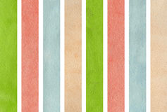 Watercolor green, pink, beige and blue striped background. Stock Photos