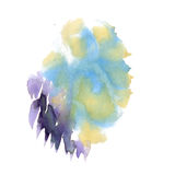 Watercolor green purple blobs on white background, abstract stains . illustration the watercolor Vector Illustration
