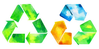 Watercolor green recycle icon and watercolore recycled water ico Royalty Free Stock Image