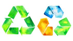 Watercolor green recycle icon and watercolore recycled water icon. Hand drawn recycle and recycled water sign royalty free illustration