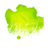Watercolor green splash with hand drawing grass Royalty Free Stock Photos
