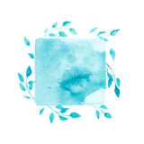 Watercolor green square with leaves Royalty Free Stock Photos