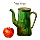Watercolor green teapot with red apple  on white Stock Photo
