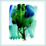 Watercolor green tree Royalty Free Stock Photos