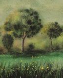 Watercolor of green trees. Original watercolor painting with green trees and background royalty free stock photos