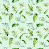 Watercolor green tropical exotic leaves and fern branches seamless pattern Stock Photo