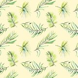 Watercolor green tropical palm leaves and fern branches seamless pattern Royalty Free Stock Image
