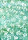 Watercolor green-white abstract background. Watercolor painting green background with white flowers Royalty Free Stock Image