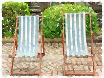 Watercolor of green and white stripy deck chairs. A digital watercolor painting of two green and white stripy deck chairs Stock Illustration